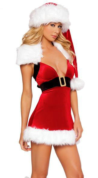 Free Shipping Hot Selling Elegant and Glamorous Red Strapless Lady Christmas Dress Costumes