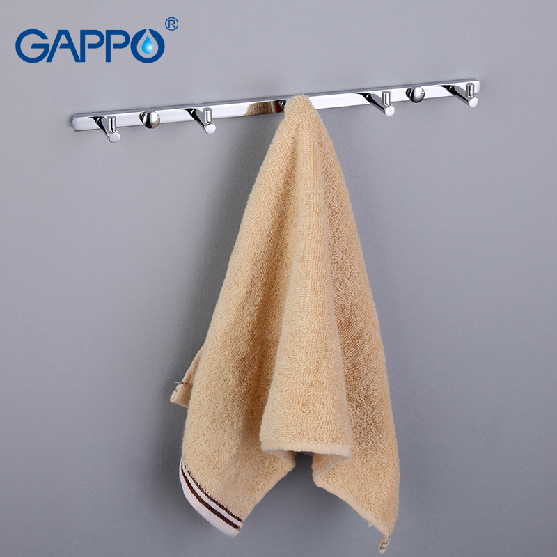 GAPPO 1 Set High Quality 5 Hooks Bathroom Accessories Wall-mount Clothes Zircalloy Tower Hooks Bathroom Accessories GA202-5