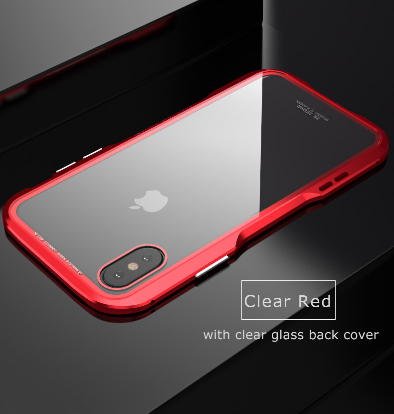 For iPhone X Magnetic Adsorption Cases Shockproof Metal Bumper (9)