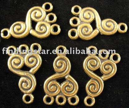 FREE SHIPPING 180pcs Antiqued gold spiral 1-to -3 charms links A112G
