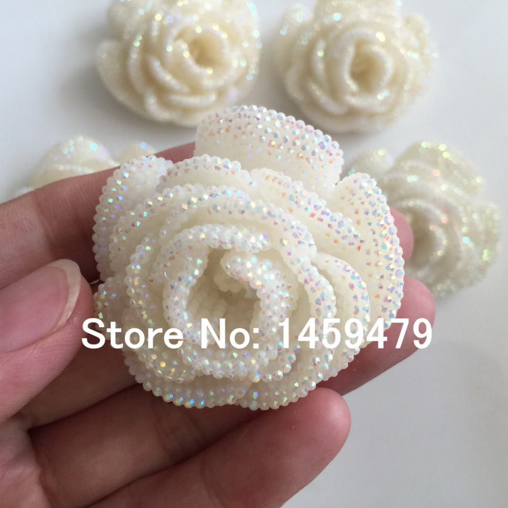Plating Resin flower DIY jewelry accessories White AB Color Stick-On  Crystals Rhinestones Craft art Accessory Stones 4pcs 47mm f832543f96f6