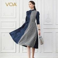 Voa шёлковый жаккардовые платья для вечеринок осень платье миди для женщин Хаундстут Винтаж изящный, темно синий тонкий туника большой разме