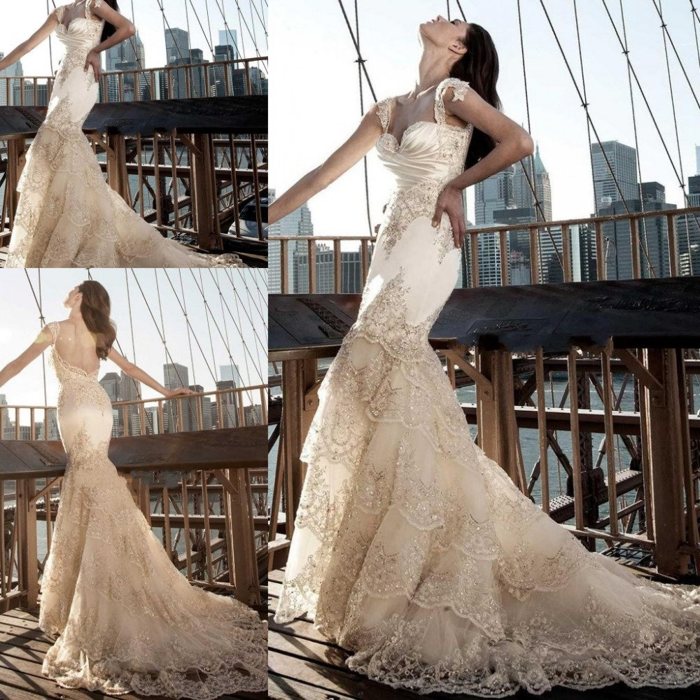 Gorgeous Champagne Sweetheart Lace Mermaid Wedding Dresses Court ...
