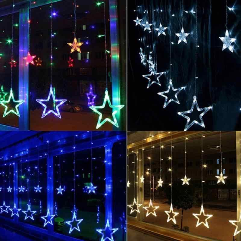 Рождественские огни AC 220 В ЕС Plug Романтический Фея Звезда светодиодный Шторы строка освещение на праздник свадебный венок вечерние украшения