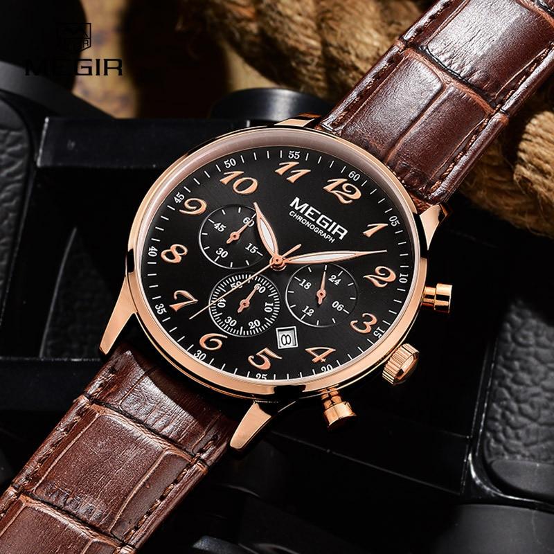 MEGIR роскошный военный хронограф кварцевые часы мужская мода свободного покроя аналоговые кожаные наручные часы водонепроницаемый бесплатная доставка 2022