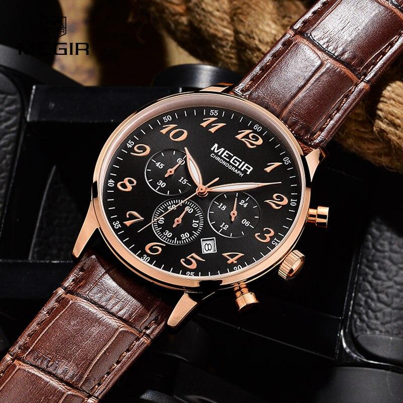 Megir lujo militar cronógrafo reloj de cuarzo hombres moda casual reloj de pulsera de cuero analógico impermeable envío libre 2022