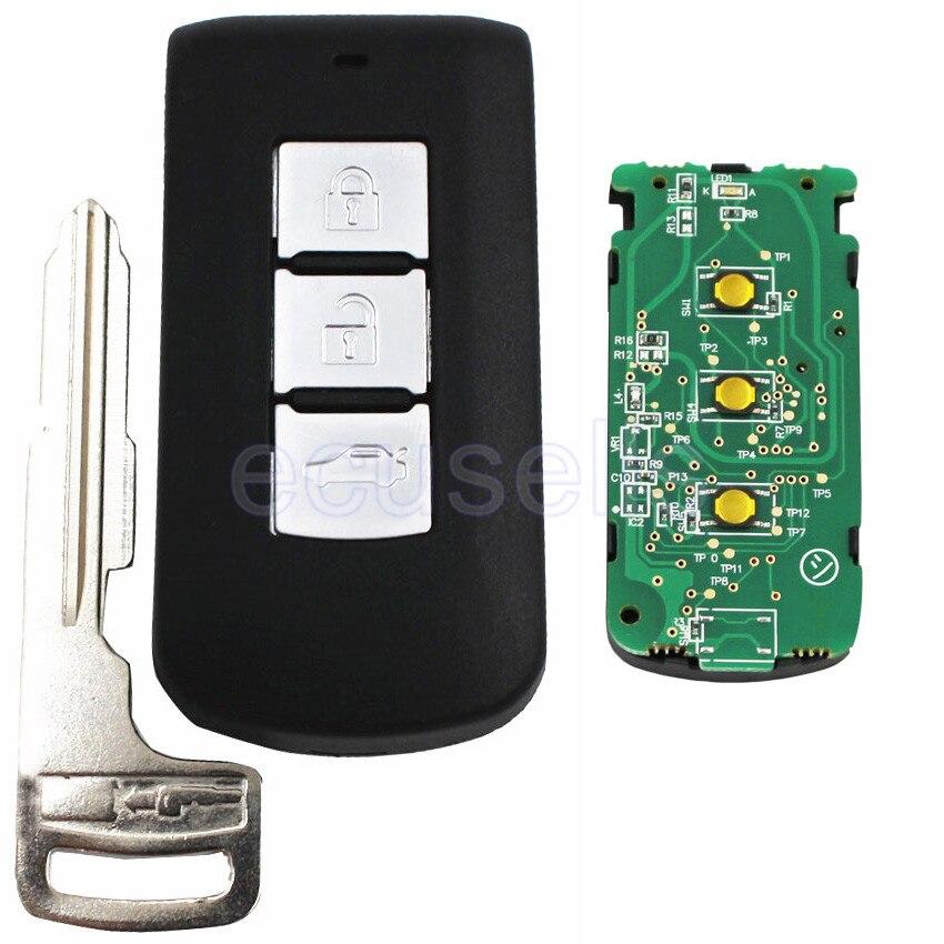 Prix pour Smart verrouillage À Distance Clé fob FSK 433 MHz 3 Boutons ID46 PCF7952 Puce Pour Mitsubishi Outlander Avec urgence insert clé