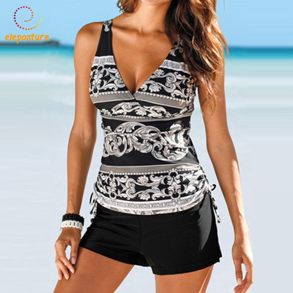 2017 New Swimsuit Women Tankini Plus Size Swimwear Two Piece Swimsuit Push Up Bikini Set Halter Tankini Bathing Suits Beach Wear halter print tankini set