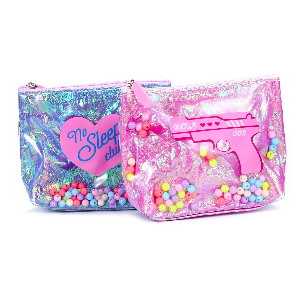 PVC Mini Coin Purses Pocket For Women Laser Hologram Clutch Bag Money Change Bag Colorful Beads Grils Cosmetics Storage Pouch