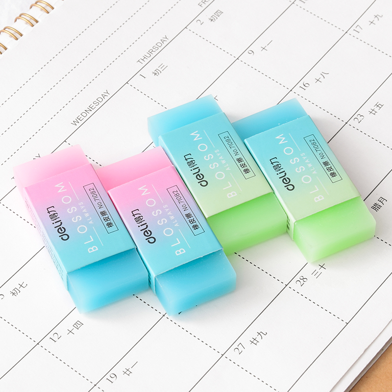 5 Pcs/lot  Transparent Jelly Rubber Eraser Color Gradient Artistic Drawing Pencil Eraser Student School Supplies