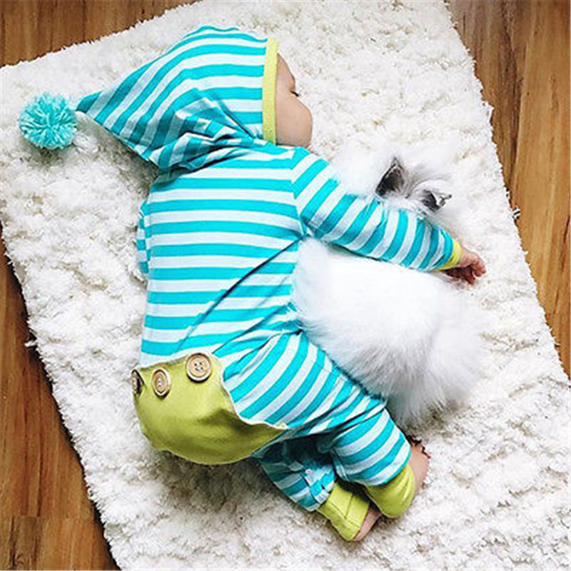 Autumn Cotton Cute Newborn Infant Baby Boys Girls Striped Blue and White Long Sleeve Hoodies   Romper   Jumpsuit Outfits Clothes