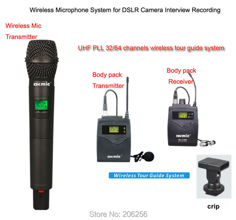 Wireless Microphone for DSLR Camera Outdoor Interview DV Recording, Handheld transmitter and receiver camera mounting rack Бороскопы