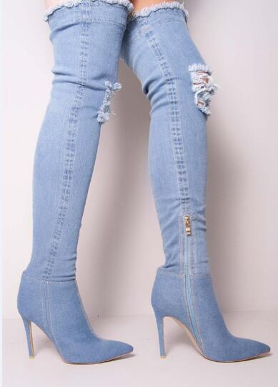 Hot selling light blue cut-outs denim stretch fabric over the knee boots sexy pointed toe thigh high boots for night club women 2017 summer newest hot sexy women narrow band high boots cut outs gladiator over the knee booty club boots women shoes