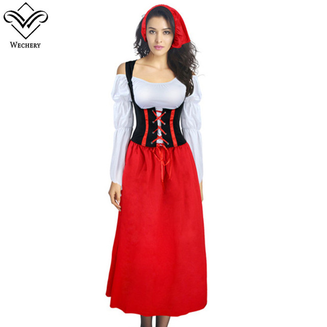 58f14e21c Wechery Country Girl Maids Cosplay Lace Up Costume Sexy Red Retro ...