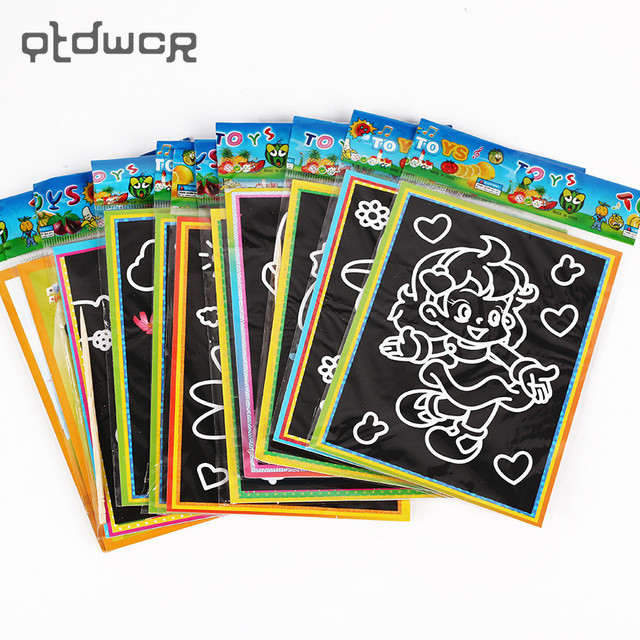 6 PCS Children Scratch Art Doodle Pad Painting Card Educational Early Learning Drawing Book for Kids 13cmx9.5cm
