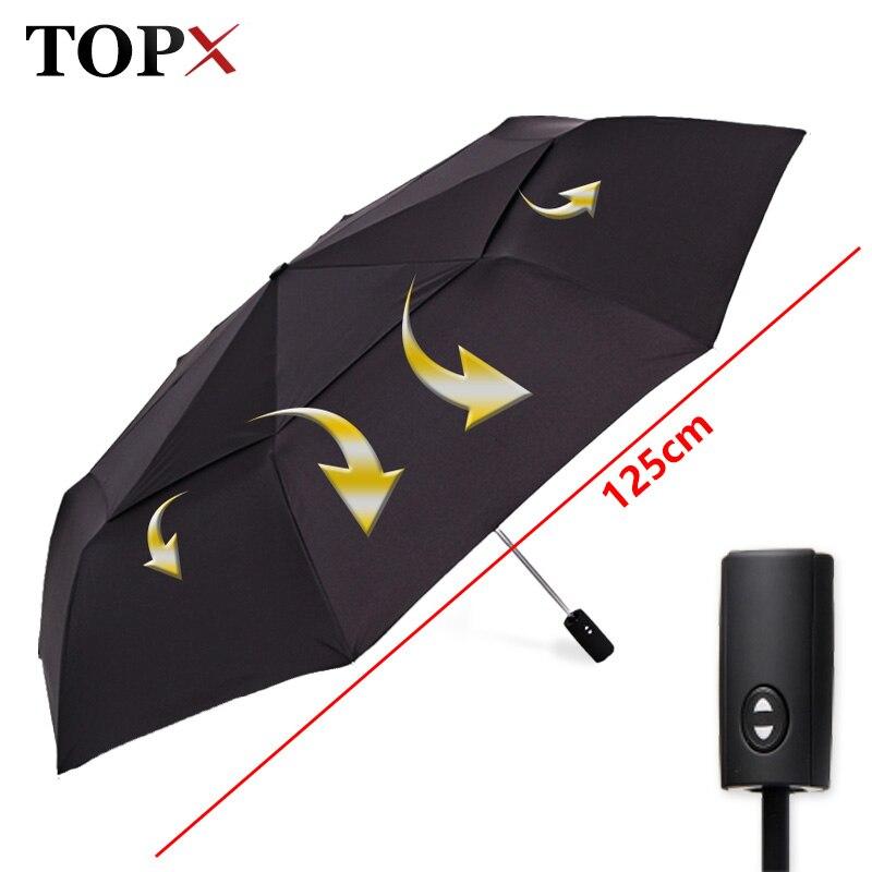 125 cm Grand Automatique Qualité Double Couche Parapluie Pluie Femmes 3 Fois Coupe-Vent Grand Parapluie En Plein Air Hommes Femme Parapluie Parasol