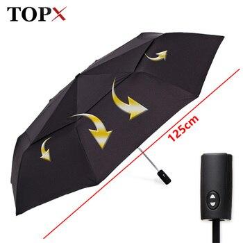 125cm grande automático de calidad de doble capa Paraguas de lluvia de...