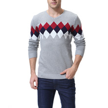 Sweater Men's Color Matching V-neck Plaid Fashion Casual Men's Knit Bottoming Shirt Men's Sweater XY962 v neck bib zippered knit sweater