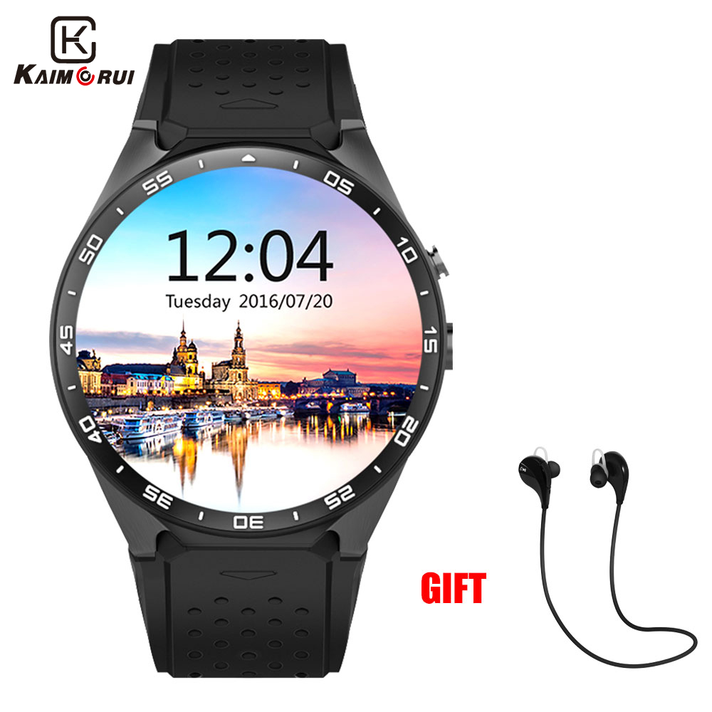 Kaimorui KW88 Bluetooth Smart Watch Android 5.1 OS 1.39 'Amoled Screen 3G wifi Trådløs Smartwatch Telefon + Bluetooth øretelefon