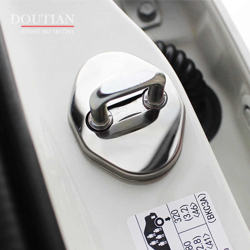 NEW 3D Stainless Steel Door Lock Buckle Protection Protective Cover trim 4pcs for Mazda CX-5 cx5 2017 2018 car Accessories 4pcs 4pcs stainless steel side door body molding cover trim for bmw x5 f15 2014 2015 car accessories