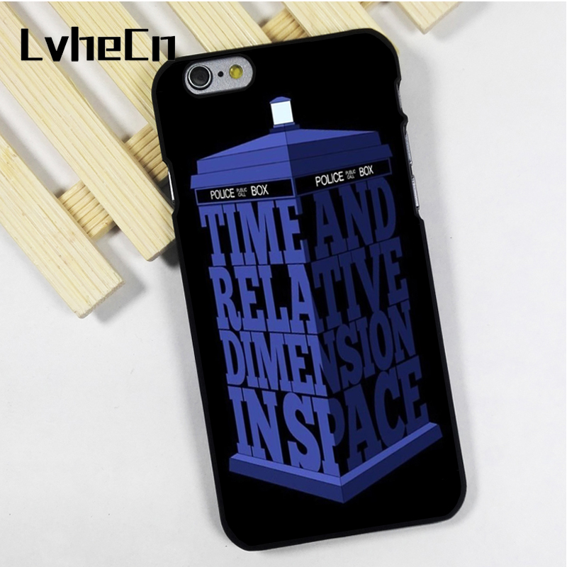 LvheCn phone case cover fit for iPhone 4 4s 5 5s 5c SE 6 6s 7 8 plus X ipod touch 4 5 6 Dr Who Tardis Police Box Quote