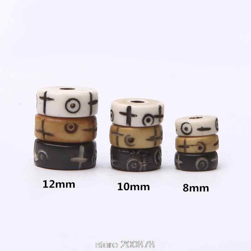 TSB0525 Wholesale Tibet Yak bone loose beads 8/10/12mm 10beads lot Hand Carved Cross Sun Moon Totem Oblate bone beads