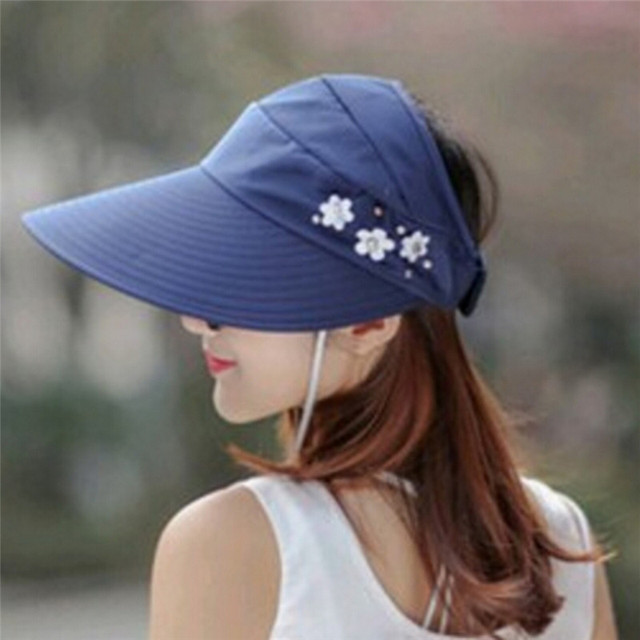 27b91ddcddb 1PCS women summer Sun Hats pearl packable sun visor hat with big heads wide  brim beach hat UV protection female cap