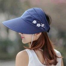 54d9a3d126a 1PCS women summer Sun Hats pearl packable sun visor hat with big heads wide  brim beach