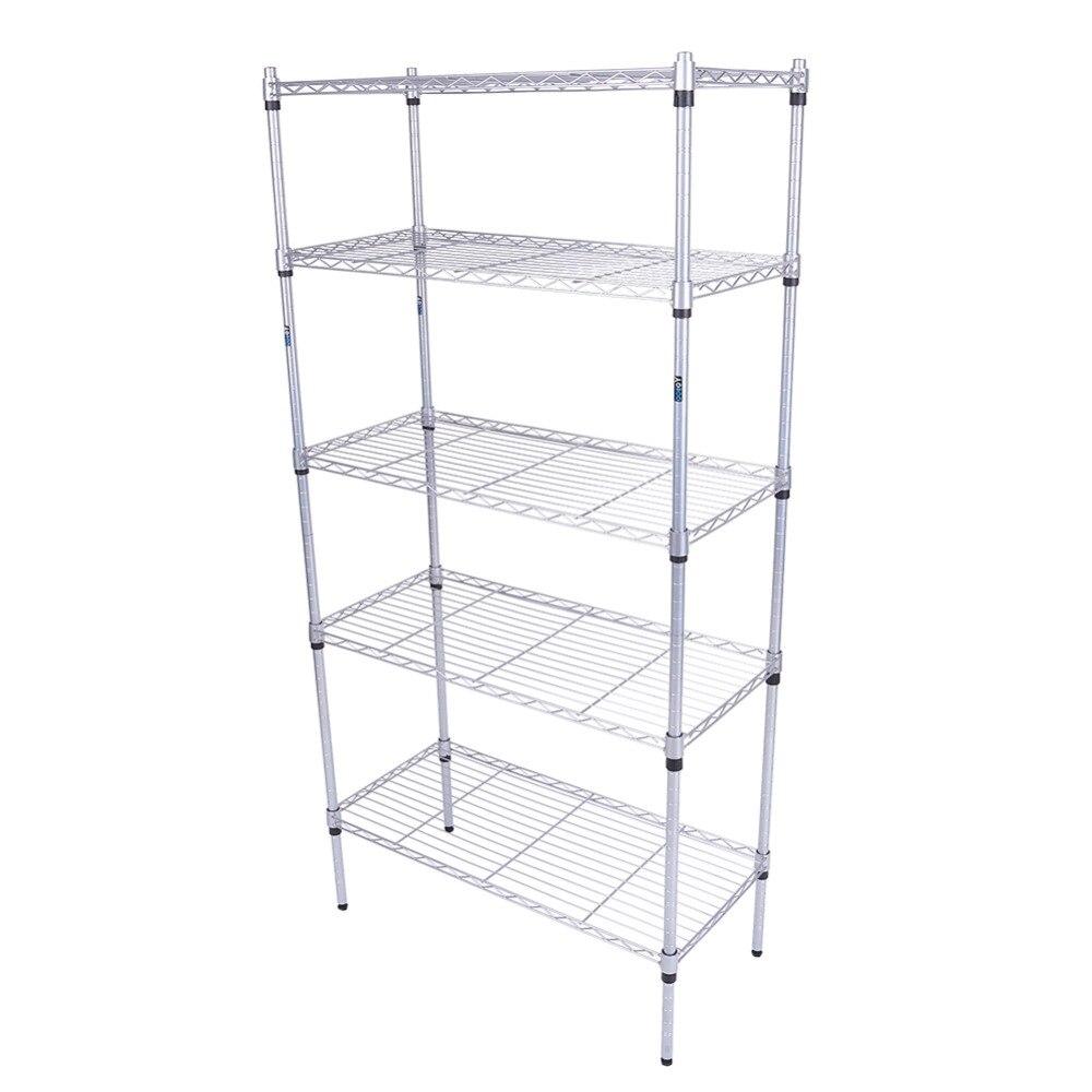 5 Tier Heavy Duty Metal Steel Storage Shelf Kitchen Garage