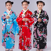 Girls Imitated Silk Peacock Floral Maxi Japanese Kimono Long Dress Robe Costume Set For Children Clothes
