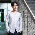 Los hombres de manga larga camisa masculina de algodón de lino camisa causal otoño color sólido slim fit camisa C119