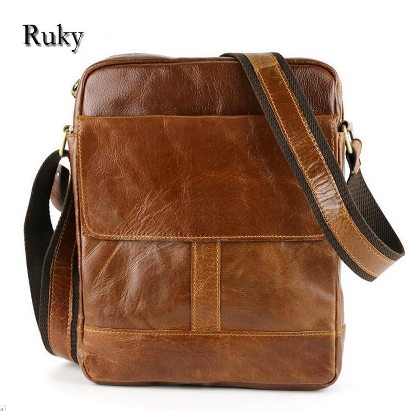 ФОТО 2016 New Fashion Men Bags Small Shoulder Messenger Bags Genuine Leather Crossbody Bag Luxury Brand Design Handbag Casual For Men
