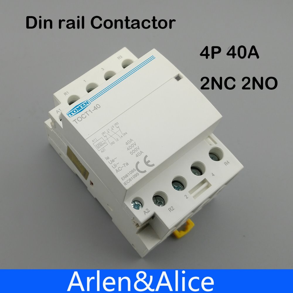 TOCT1 4P 40A 2NC 2NO 220V 400V~ 50/60HZ Din rail Household ac Modular contactor