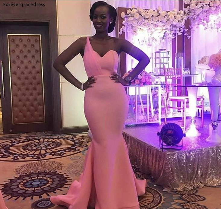 2019 New One Shoulder Bridesmaid Dress Cheap Pink Summer Country Garden Formal Wedding Party Guest Maid Of Honor Gown Plus Size