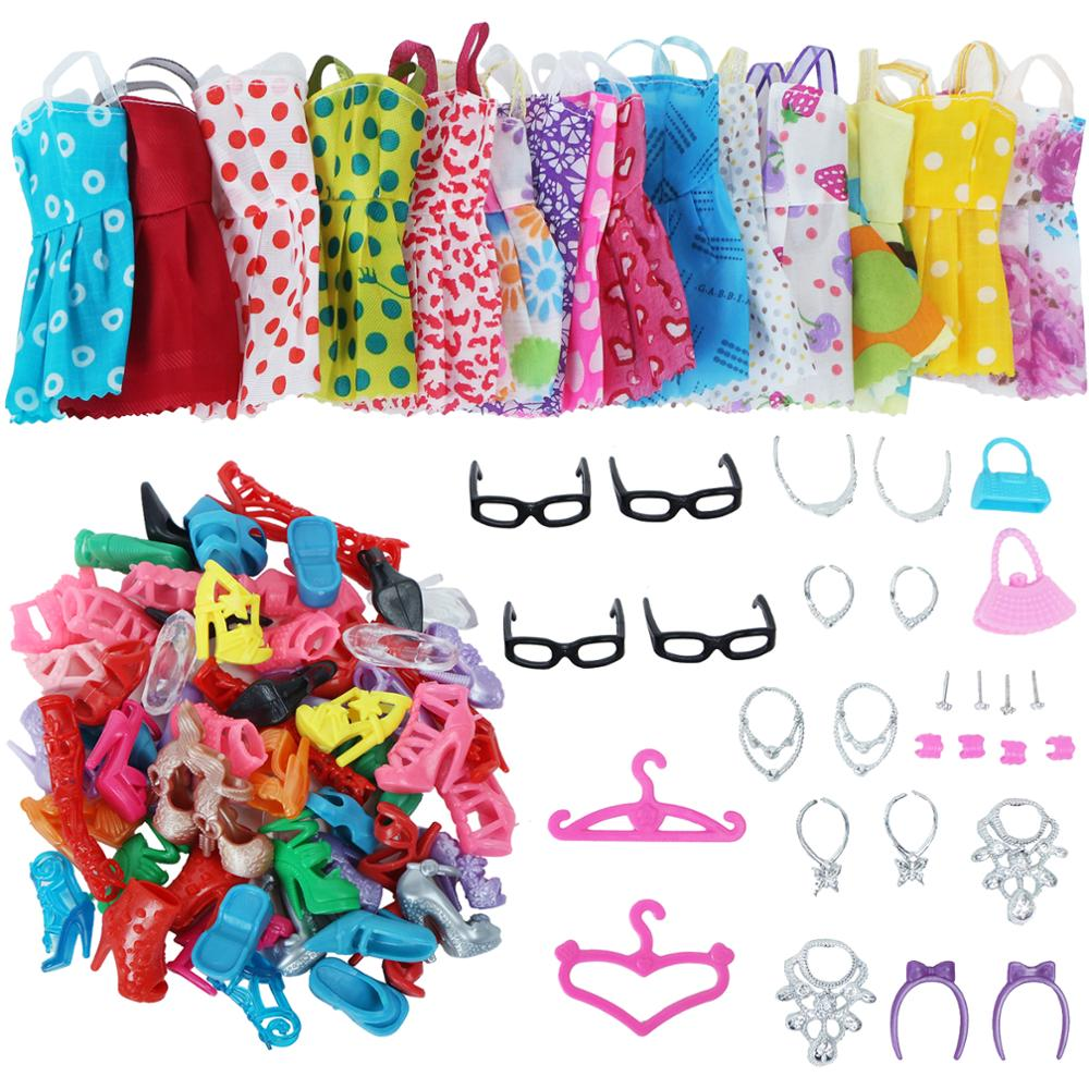 42 Item/Set Doll Accessories = 10Pcs Shoes + 8 Necklace 4 Glasses 2 Crowns 2 Handbags + 8 Pcs Clothes for Barbie Doll