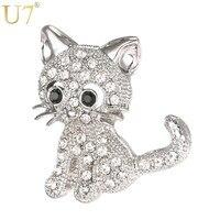 U7 Brand Cute Little Cat Brooch For Women Gift Wholesale Rhodium Gold Plated Rhinestone Crystal Pin