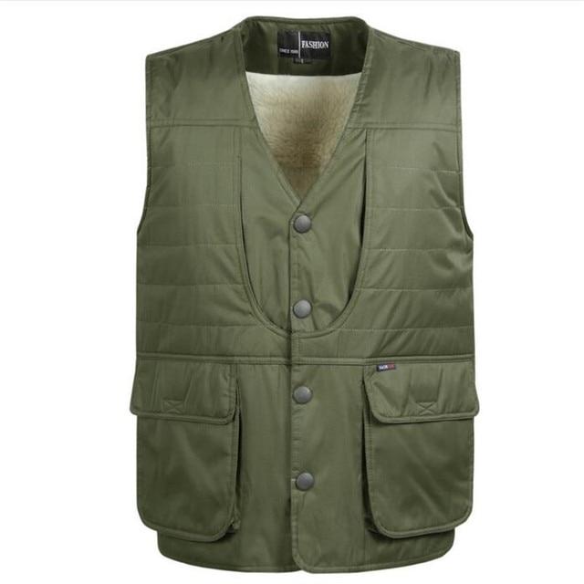 2016 Add wool Winter Multi-pocket Vest Men's Cashmere Warm Cotton Vest Big Size Casual Waistcoat Wholesale Size L-4XL
