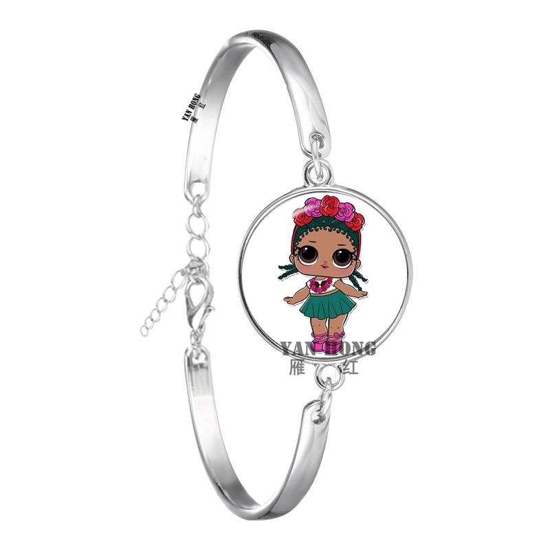Красивый кукольный стеклянный браслет 20 мм стеклянный купол мультфильм ювелирные изделия круглый стеклянный браслет детский очаровательный подарок - Окраска металла: 5