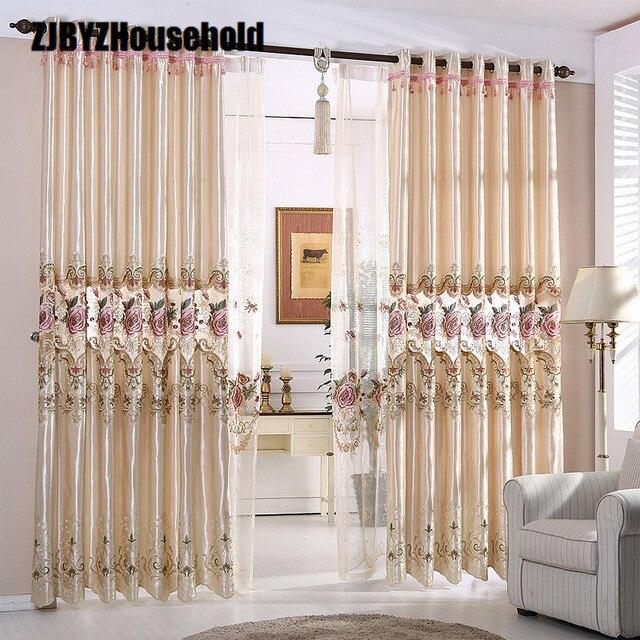 Paño coreano Pastoral europeo bordado cortina sombreado, cortinas ...
