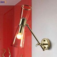 Iwhd Nordic латунь Медь бра Ретро светодиодный светильник настенный Стекло абажур простой светильники для дома Освещение arandela светильник
