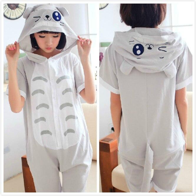 2016 New Designer Summer Adult Animal Anime Totoro Onesie Cosplay Pajamas Sleepwear 100% Cotton for Women Men pijama Pyjamas