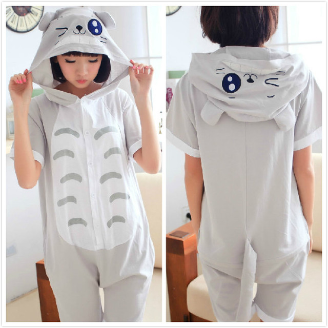 2016 New Designer Summer Adult Animal Anime Totoro Onesie Cosplay Pajamas  Sleepwear 100% Cotton for Women Men pijama Pyjamas f71b1775c