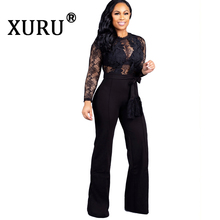 XURU summer new womens lace jumpsuit suit sexy hollow black