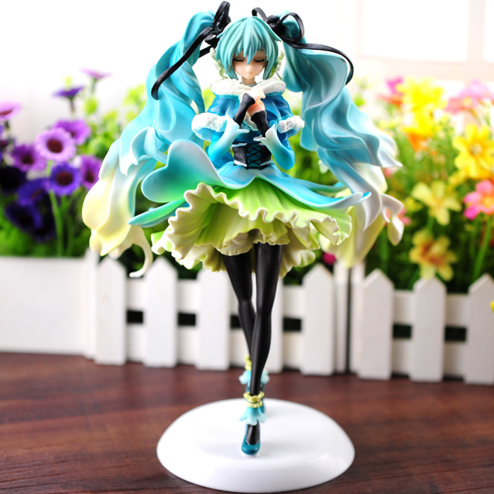 цена на Anime doll vocaloid Hatsune Miku snow in summer 1/7 scale pre-painted pvc action figure kawaii model toy juguetes brinquedos