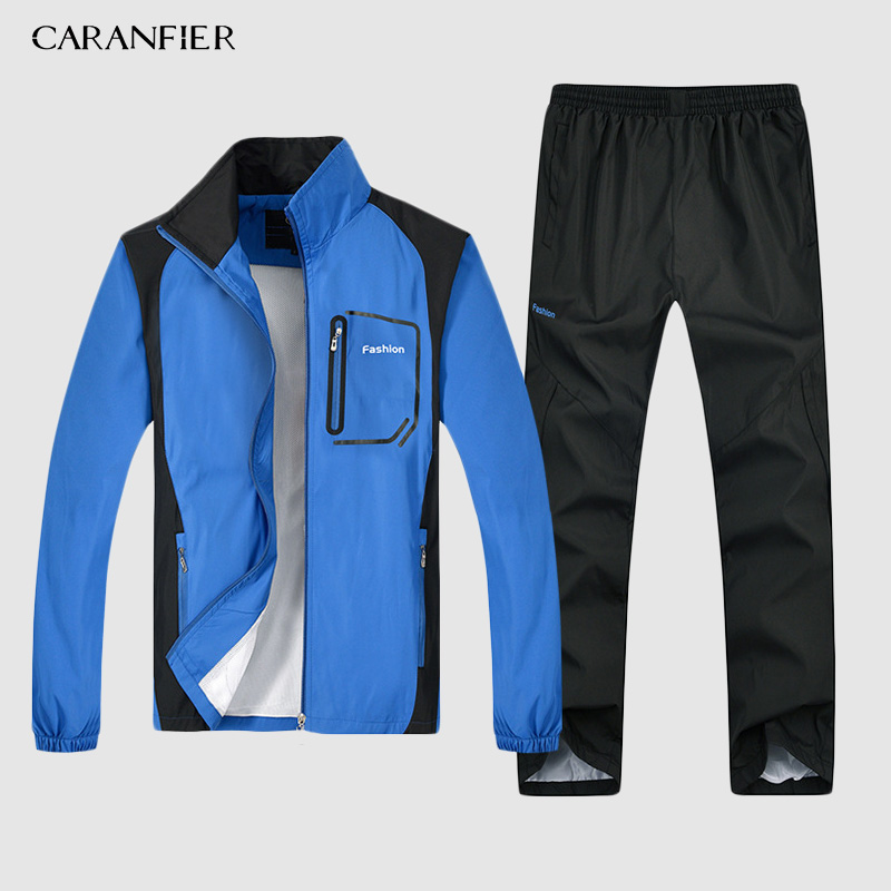 CARANFIER New Mens Jacket 2019 Breathable Fishing Waterproof Jackets 2 Piece Mens Set Sportswear Jacket +Pants Plus Size L-5XL