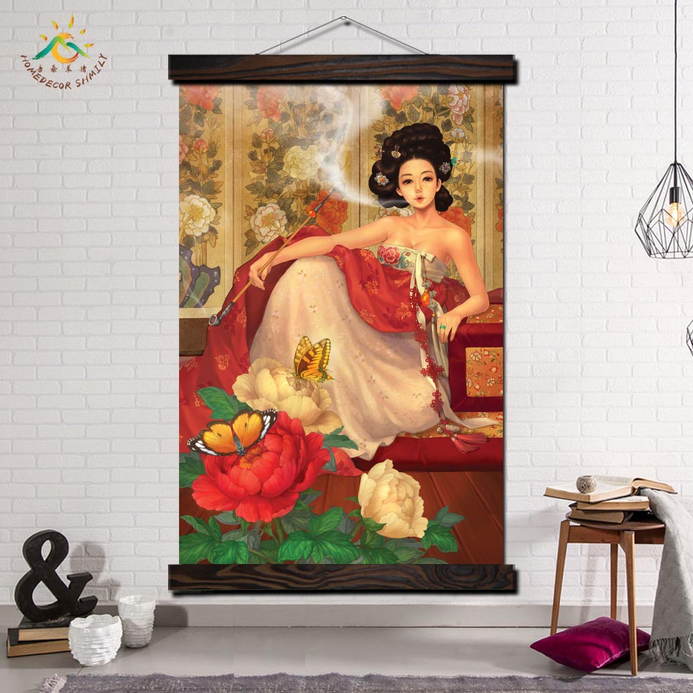 Korea Ancient Smoking Woman Modern Wall Art Print Pop Picture And Poster Hanging Scroll Canvas Painting Home Decor