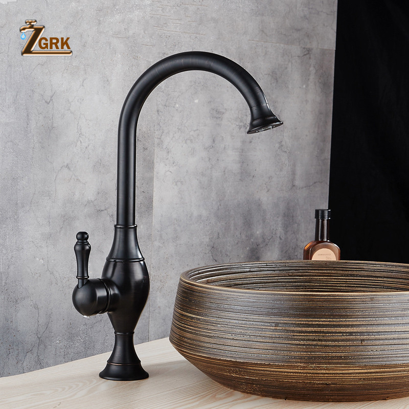 ZGRK Euro Retro Oil Rubbed Black Bronze Swivel Singe Handle Bathroom Basin Kitchen Deck Mounted Sink Mixer Tap Kitchen Faucet 360 swivel kitchen faucets swivel oil rubbed bronze deck mounted mixer tap bathroom faucet basin mixer hot cold tap faucet
