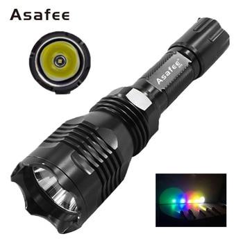 Asafee B58 Водонепроницаемый военные светодио дный фонарик CREE XM-L2 (U4) Открытый Охота факел белый красный зеленый свет светодио дный полиции фона...