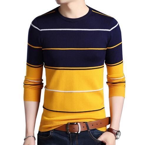 2019 Homens Casuais inverno O-pescoço pulôver Listrado Blusas Slim Fit Tricô de algodão Mens Camisolas Pullovers masculinos de Alta Qualidade