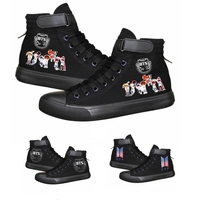 Kpop Unisex BTS Bangtan Boys High Canvas Shoes Sneakers Shoes Casual Printing Shoes Leisure Shoes